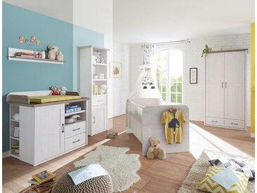 Babyzimmer in Pinie weiß-Nb. mit Abs. in Trüffel-Nb., Drehtüremschrank B: ca. 106, Babybett mit Lieghefläche 70x140 cm und Wickelkommode B: ca. 106 cm