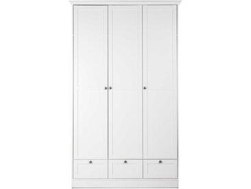Kleiderschrank in weiß, 3 große Rahmentüren, 3 Rahmenschubkästen, 1 Kleiderstange, Griff-Knöpfe in Antik-Optik, Maße: B/H/T ca. 120/200/51 cm