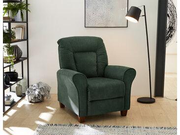Fernsehsessel in grünem Cordstoff bezogen mit Liegefunktion durch Körperdruckverstellung, Taschenfederkern, Maße: B/H/T ca. 90/102/92 cm