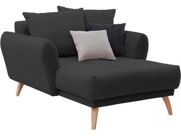 Longchair in schwarzem Flachgewebe bezogen, inkl. Rücken- und Zierkissen, Holzfüße wildeichefarben, Maße: B/H/T ca. 120/94/156 cm