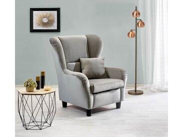 Sessel, Ohrensessel mit Zierkissen in grauem Samt bezogen, Füße schwarz, Maße : B/H/T ca. 90/98/76 cm