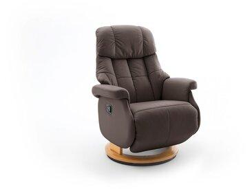 Relaxsessel-Komfort mit manueller Bedienung, in braunem Echtleder, Gestell natur, Maße: B/H/T ca. 77/87-111/86-158 cm
