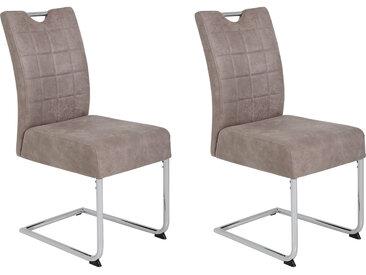 Esszimmerstühle 2er-Set in beigefarbenem Mikrofasterstoff in Vitage-Optik bezogen, Gestell Metall - verchromt, Maße: B/H/T ca. 44/98/59 cm