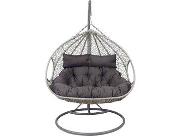 Hängesessel mit Geflecht und Stahlgestell in grau, inkl. Kissen, Maße Sessel: B/H/T ca. 137/117/77 cm, Gesamthöhe ca. 203 cm