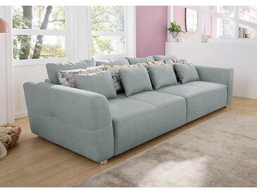 Big Sofa in grau-blau mit 4 große Rückenkissen, 4 mittlere Wendekissen und 4 kleine Zierkissen, Maße: B/H/T ca. 298/88/137 cm