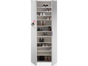 Schuhschrank in  Weiß inkl. 2 Spiegeltüren und 11 Einlegeböden, Maße: B/H/T ca. 80/190/35 cm