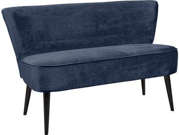 Diningbank in blauem samtähnlichen Stoff bezogen, Polster im Sitz bestehend aus einer Nosagunterfederung, Maße: B/H/T ca. 140/83/75 cm