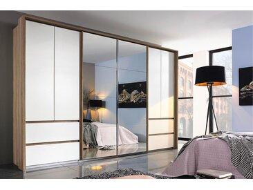 Kombi-Schwebetürenschrank 6-trg. in Sanremo-Eiche-Nachbildung mit Absetzungen in alpinweiß, 2 Spiegeltüren, 4 Drehtüren, Maße: B/H/T ca. 316/210/62 cm