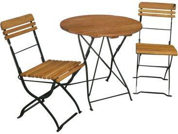 Gartenmöbel-Set, 3-teilige, mit einer Belattung aus Robinienholz und einem Gestell aus verzinktem Flachstahl in moosgrün