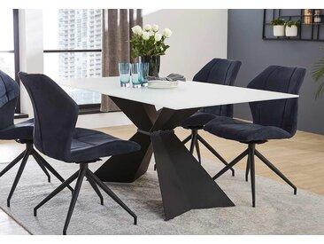 Esstisch mit Tischplatte aus Glas in weiß und Metallgestell in schwarz, Maße: B/H/T ca. 180/76/90 cm