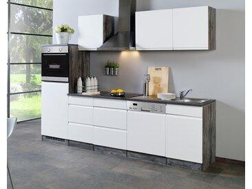 Küchenblock, Weiß Hochglanz, Eiche-Vinatge-Dekor, Stellmaß: ca. 280 cm, mit Elektrogeräten inkl. Geschirrspüler