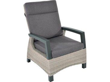 Loungestuhl aus Polyrattangeflecht in beige, stufenlose Verstellung, Alu-Gestell, inkl. Sitz- und Rückenkissen in grau, Maße: B/H/T ca. 72/102/82 cm