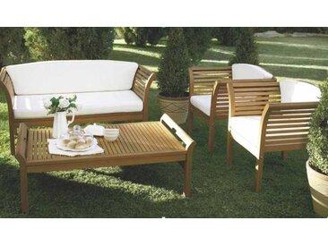 Loungeset inkl. Rücken- und Sitzkissen in creme, aus geöltem Eukalyptusholz, 4-tlg. mit 2 Sesseln, Bank und Tisch