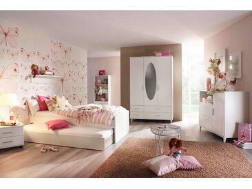 3-tlg. Jugendzimmer in Alpinweiß inkl. 3-trg. Drehtürenkombischrank, Umbauliege (90 x 200 cm) mit Rollbettkasten und Roll-Nachttisch