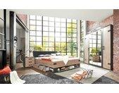 Schlafzimmer 4-tlg. in Silber Tanne-Nachbildung, Abs. in graphit, bestehend aus Drehtürenschrank B: 225 cm, Bett 180x200 cm, 2 Nachtschränken B: 52 cm