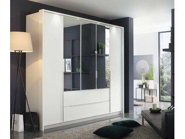 Drehtürenschrank 5-trg. in alpinweiß, 3 Spiegeltüren und 2 Schubladen, Maße: B/H/T ca. 226/210/54 cm