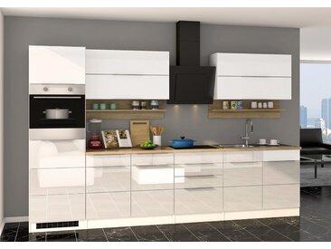 Küchenblock, weiß Hochglanz, Stellmaß: ca. 320 cm, mit Elektrogeräten