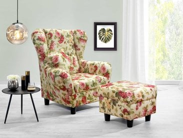 Sessel, Ohrensessel mit Hocker und Zierkissen Webstoff Blumenmuster bezogen Füße schwarz