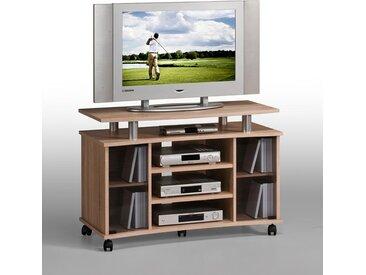 TV-Videowagen, Eiche-NB, Alu-Optik, 3 Gerätef., 4 Fächer, Rauchgl.-Türen, Einlegebd., TV-Bühne, Maße: B/H/T ca. 99,7/67,6/45 cm, 5 stab. Doppelrol.