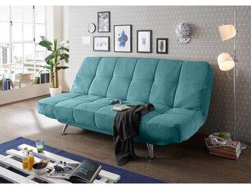 Schlafsofa in grünem Microvelourstoff mit Bettkasten, Schlaffunktion und Armteilverstellung, Maße: B/H/T ca. 208/102/98 cm
