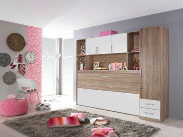 Jugendzimmer in Eiche Sanremo hell NB mit Abs. in alpinweiß, 1 Klappbett inkl. Lattenrost, B: 212 cm, 1 Regalüberbau B: 212 cm, 1 Schrank B: 47 cm