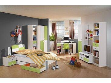 Jugendzimmer in Weiß/Apfel, 2-trg. Schrank, Regalelement, Bett 90x200 cm, Bettschubästen-Set, Nachtschrank