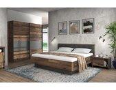 Schlafzimmer in Old Wood Vintage-Dekor und Betonoptik dunkelgrau, Bett 180 x 200 cm, 2 Nachtschränke, Schwebetürenschrank