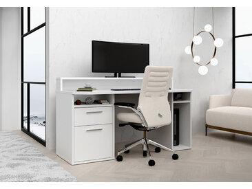 Computerschreibtisch in Weiß mit Monitoraufsatz und Schubkasten, B/H/T ca. 160/91,1/72 cm