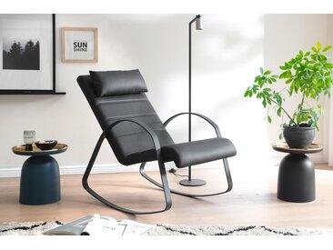 Relaxsessel / Schaukelstuhl in schwarzem Kunstleder bezogen, Gestell Metall schwarz matt, Maße: B/H/T ca. 67/90/115 cm