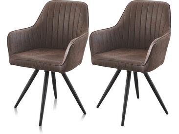 Esszimmerstühle in dunkelbraunem Stoff in Antiklederoptik und Metallgestell, 2er-Stuhlset, drehbarer Sitz, Maße: B/H/T ca. 57/85/55 cm