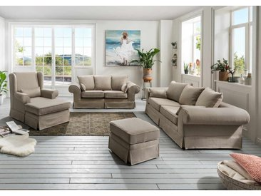 Polstergarnitur 3-tlg. in beigefarbenem Stoff bezogen bestehend aus Longchair, 2-Sitzer und 3-Sitzer Sofa