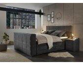 Boxspringbett in anthrazit, motorisierte TV-Halterung, Bettkästen, 7-Zonen Tonnentaschenfederkern-Matratzen und mit mit Kaltschaumtopper, 180x200 cm