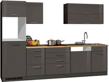 Küchenblock, graphit Hochglanz, Stellmaß: ca. 300 cm, ohne Elektrogeräte