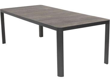 Gartentisch mit einem Aluminiumgestell in anthrazit und Keramikplatten in Holzoptik, Maße: B/H/T ca. 220/74/100 cm