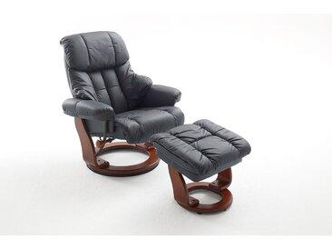 Relaxsessel in schwarzem Echtleder inkl. Hocker, Gestell walnussfarbig, Maße: B/H/T ca. 90/104-89/91-122 cm