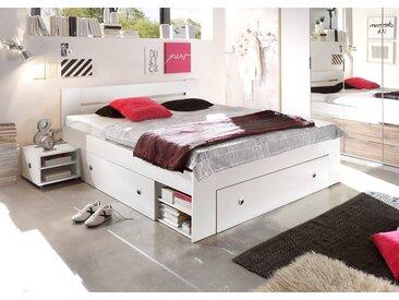 Kojenbett in weiß mit 3 Schubkästen, inkl. 2 Nachtkonsolen, Maße: B/H/T ca. 145/86/204 cm, Liegefläche: 140 x 204 cm