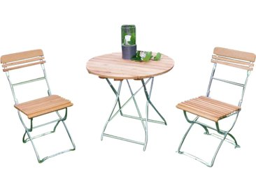 Gartenmöbel-Set mit einer Belattung aus Robinienholz und einem Gestell aus verzinktem Flachstahl in silber, 3-teilig
