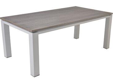 Gartentisch mit einem hellgrauem Gestell aus Aluminium u. einer Cherry-Board Tischplatte, kratzfest u. grau strukturiert, Maße: B/H/T ca. 180/74/100cm