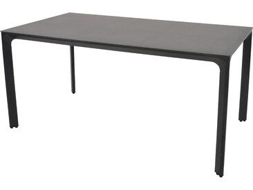 Gartentisch mit einem Alugestell in anthrazit und einer Glastischplatte in Keramik-Optik, Maße: B/H/T ca. 160/74/90 cm