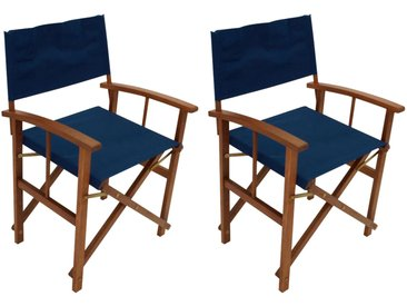 2 Regiestühle aus geöltem Eukalyptusholz mit dunkelblauer Stoffbespannung, klappbar, Maße: B/H/T ca. je 56/85/50 cm