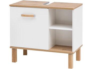 Waschbeckenunterschrank in weiß mit Abetzungen in Eiche, 1 Tür und 2 offenen Fächern, Maße: B/H/T ca. 65,2/60,1/35 cm