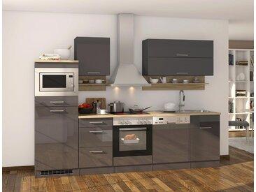 Küchenblock, Grau Hochglanz, Stellmaß: ca. 280 cm, mit Elektrogeräten inkl. Geschirrspüler und Mikrowelle