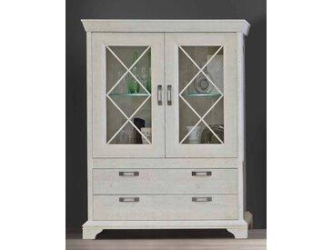 Vitrine in Pinia-Weiß-Nb, 2 Glas-/Holztüren mit je einem Glasboden und 2 große Schubkästen, inkl. Beleuchtung, Maße: B/H/T ca. 123/162,3/48,2 cm