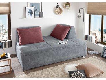 Schlafsofa in dunkelgrauem Microvelourstoff mit Rückenkissen und Bettkasten, Maße: B/H/T ca. 200/96/124 cm