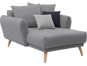 Longchair in grauem Flachgewebe bezogen, inkl. Rücken- und Zierkissen, Holzfüße wildeichefarben, Maße: B/H/T ca. 120/94/156 cm