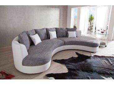 Ecksofa rund in hellgrauem Webstoff und weißen Kunstleder bezogen, inkl. 6 Rückenkissen und 3 Zierkissen, Maße: B/H/T ca. 306/74/183 cm