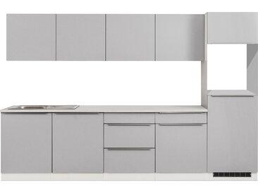 Küchenblock, hellgrau matt, Stellmaß: ca. 300 cm, ohne Elektrogeräte