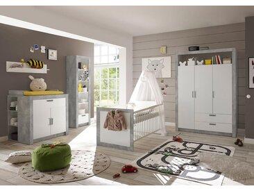 Babyzimmer 4-tlg. in weiß und Abs. in Beton-Optik, Drehtürenschrank, Bett mit Liegefläche 70x140 cm und Kommode mit Wickelaufsatz