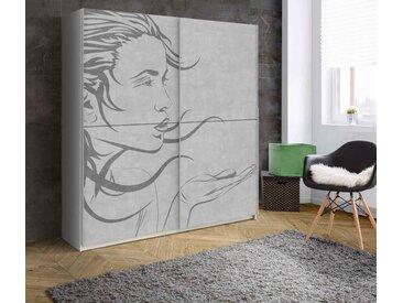 2-trg. Schwebetürenschrank in Weiß, Front mit Frau-Motiv,  2 Einlegeböden und 2 Kleiderstangen, Maße: B/H/T ca. 170,3/190,5/61,2 cm