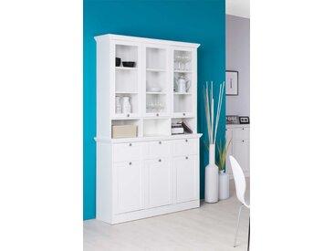 Buffetschrank in weiß, 3 Türen, 3 Schubkästen, 3 Glastüren (9 Ablagen dahinter), 3 offene Fächer, Glastüraufsatz ca. 30 cm tief,Maße:ca. 120/200/40 cm
